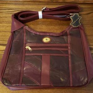 Genuine Leather 2 Zipper Purse - Burgundy
